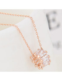 Fashion Gold Color Square Shape Diamond Decorated Simple Long Chain Necklace