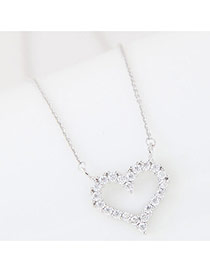 Fashion Silver Color Heart Shape Pendant Decorated Simple Long Chain Necklace