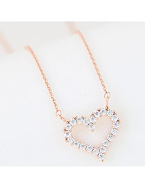 Fashion Gold Color Heart Shape Pendant Decorated Simple Long Chain Necklace
