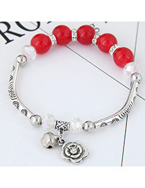 Bohemia Red Metal Rose Pendant Decorated Simple Bracelet