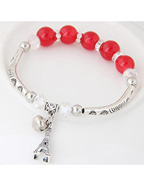 Bohemia Red Butterfly Pendant Decoarated Simple Bracelet