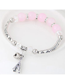 Bohemia Pink Butterfly Pendant Decoarated Simple Bracelet
