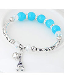 Bohemia Light Blue Butterfly Pendant Decoarated Simple Bracelet