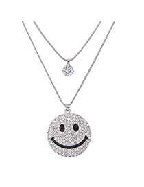 Sweet Silver Color Smiling Face Pendant Decorated Double Layer Necklace
