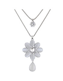 Sweet Silver Color Waterdrop&flower Shape Pendant Decorated Double Layer Necklace