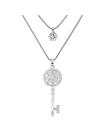 Sweet Silver Color Hollow Out Key Shape Pendant Decorated Double Layer Necklace