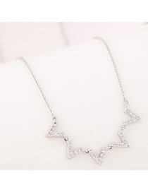 Sweet Silver Color Wave Star Shape Decorated Simple Necklace