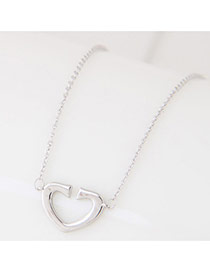 Sweet Silver Color Opening Hear Shape Pendant Decorated Simple Necklace
