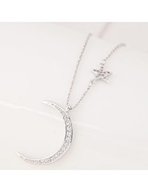 Sweet Silver Color Moon Shape Pendant Decorated Simple Necklace