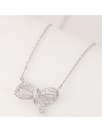 Sweet Silver Color Bowknot Shape Pendant Decorated Simple Necklace