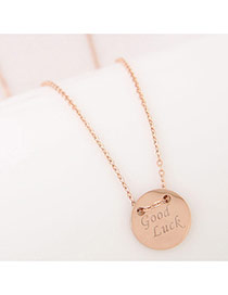 Exquisite Rose Gold Good Luck&round Pendnt Decorated Simpl Necklace