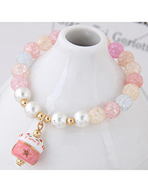 Sweet Multi-color Cat Shape Pendant Decorated Beads Bracelet