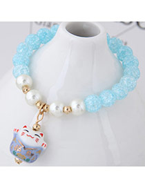 Sweet Light Blue Cat Shape Pendant Decorated Beads Bracelet