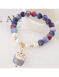 Sweet Dark Blue Cat Shape Pendant Decorated Beads Bracelet