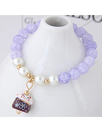 Sweet Light Purple Cat Shape Pendant Decorated Beads Bracelet