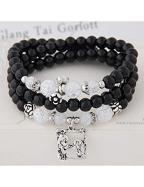 Fashion Black Lovers Pendant Decorated Multilayer Beads Bracelet