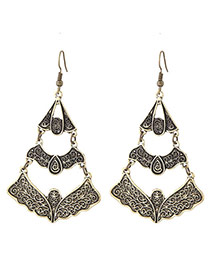 Fashion Gold Color Flower Pattern Decorated Hollow Out Multi-layer Earrings