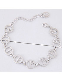 Sweet Silver Color Pure Color Decorated Hollow Out Round Shape Simple Bracelet