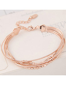 Sweet Gold Color Pure Color Decorated Multi-layer Design Simple Bracelet