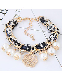 Sweet Multi-color Pearls&flower Pendant Decorated Color Matching Bracelet