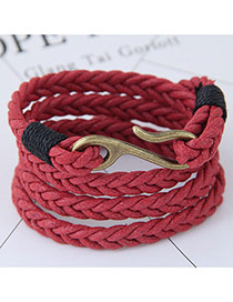 Fashion Red Irregular Shape Decorated Multi-layer Color Matching Bracelet