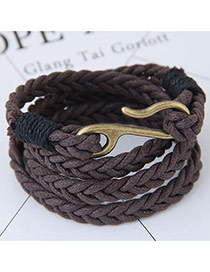 Fashion Coffee Irregular Shape Decorated Multi-layer Color Matching Bracelet