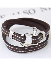 Fashion Gray Buckle Decorated Double Layer Design Simple Bracelet