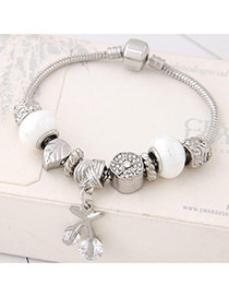 Fashion White Cherry&leaf Pendant Decorated Color Matching Bracelet