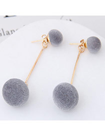 Sweet Gray Double Fuzzy Balls Pendant Decorated Pure Color Simple Earrings