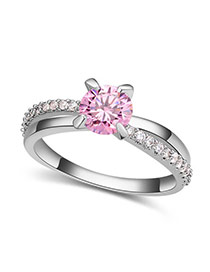 Fashion Pink Round Shape Diamond Decorated Hollow Out Design Ring