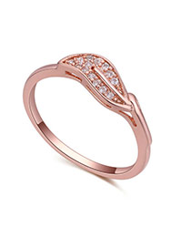 Fashion Rose Gold Diamond Decorated Leaf Shape Design Simple Ring