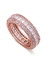 Fashion Rose Gold Full Diamond Decorated Multi-layer Simple Ring