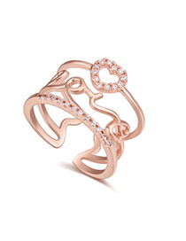 Fashion Rose Gold Heart Shape Decorated Hollow Out Design Ring