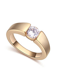 Fashion Champagne Gold Round Shape Diamond Decorated Irregular Shape Ring