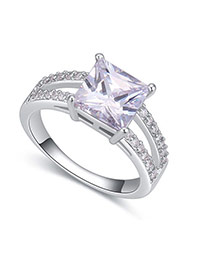Fashion Silver Color Square Shape Diamond Decorated Hollow Out Design Ring