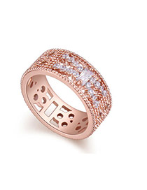 Fashion Rose Gold Geometric Shape Diamond Decorated Hollow Out Design Ring
