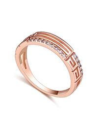 Fashion Rose Gold Diamond Decorated Hollow Out Design Simple Ring