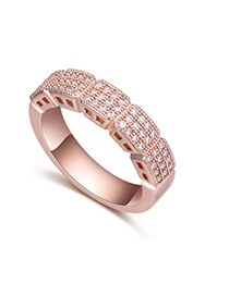 Fashion White+rose Gold Diamond Decorated Square Shape Design Simple Ring