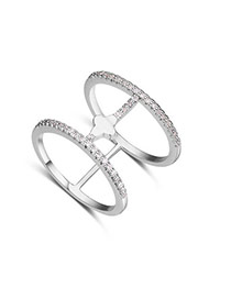 Fashion Silver Color Diamond Decorated Double Layer Hollow Out Design Ring