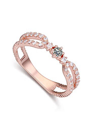 Fashion White+rose Gold Flower Decorated Hollow Out Design Simple Ring
