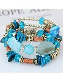 Trendy Blue Beads Decorated Color Matching Multi-layer Simple Bracelet