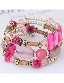 Trendy Pink Beads Decorated Color Matching Multi-layer Simple Bracelet