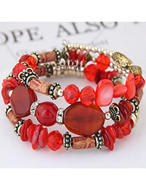 Trendy Red Beads Decorated Color Matching Multi-layer Simple Bracelet