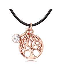 Fashion Rose Gold Hollow Out Tree Shape Pendant Decorated Simple Necklace