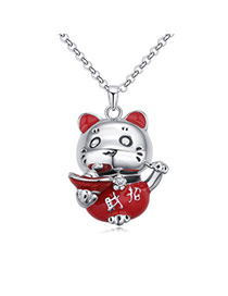 Fashion Red Bear Pendant Decorated Color Matching Simple Necklace