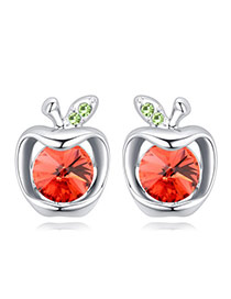 Fashion Red Apple Shape Decorated Color Matching Design Earrings