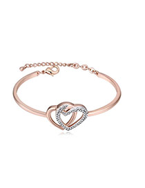Fashion Rose Gold+black Diamond Decorated Hollow Out Double Heart Design Bracelet
