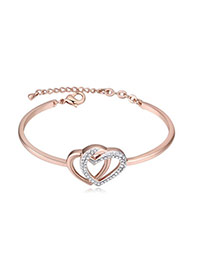 Fashion Rose Gold+white Diamond Decorated Hollow Out Double Heart Design Bracelet