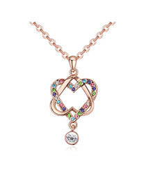 Fashion Multi-color Double Heart Shape Pendant Decorated Hollow Out Design Necklace