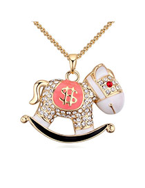 Fashion Champagne+pink Round Shape Diamond Decorated Whirligig Shape Design Necklace